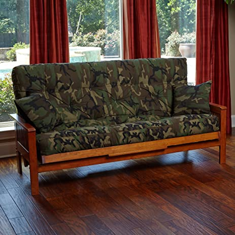 memory foam futon mattress camouflage cover with 2 matching pillows  queen camo  made amazon    memory foam futon mattress camouflage cover with 2      rh   amazon
