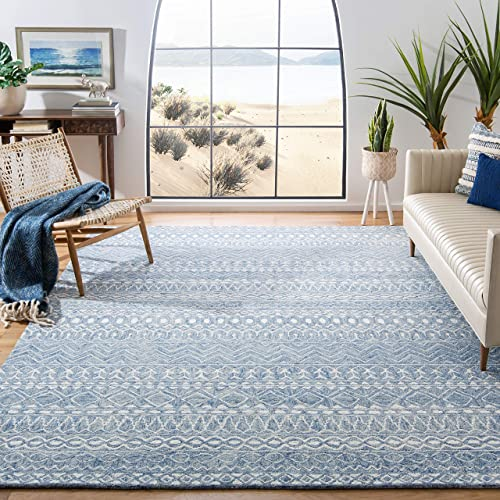 Safavieh MLP502M-9 Micro-Loop Collection MLP502M Blue and Ivory Premium Wool 9 x 12 Area Rug,