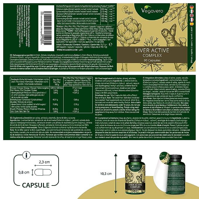 Suplemento para Hígado Vegavero® | Cúrcuma (95% Curcuminoides) + Alcachofa + Diente de León + Achicoria + Colina | 90 Cápsulas | 100% NATURAL | Sin ...