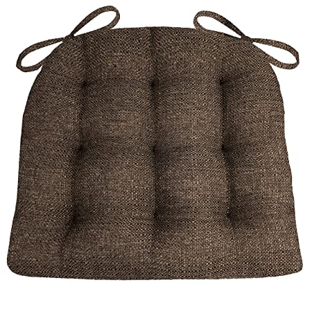 Barnett Products Brisbane Brown Dining Chair Pads with Ties – Size Extra-Large – Woven Upholstery – Latex Foam Fill, Reversible, Tufted – Made in USA