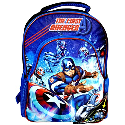"""high-quality Marvel """"The First Avenger"""" Captain America Color Change Lights 16-inch Backpack"""