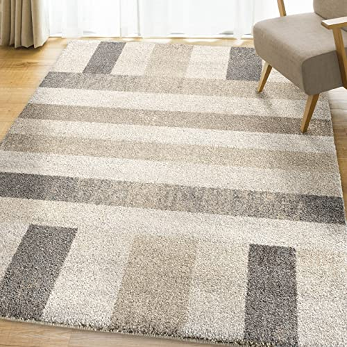 Orian Rugs Super Shag Collection 392784 Portman Stripes Area Rug