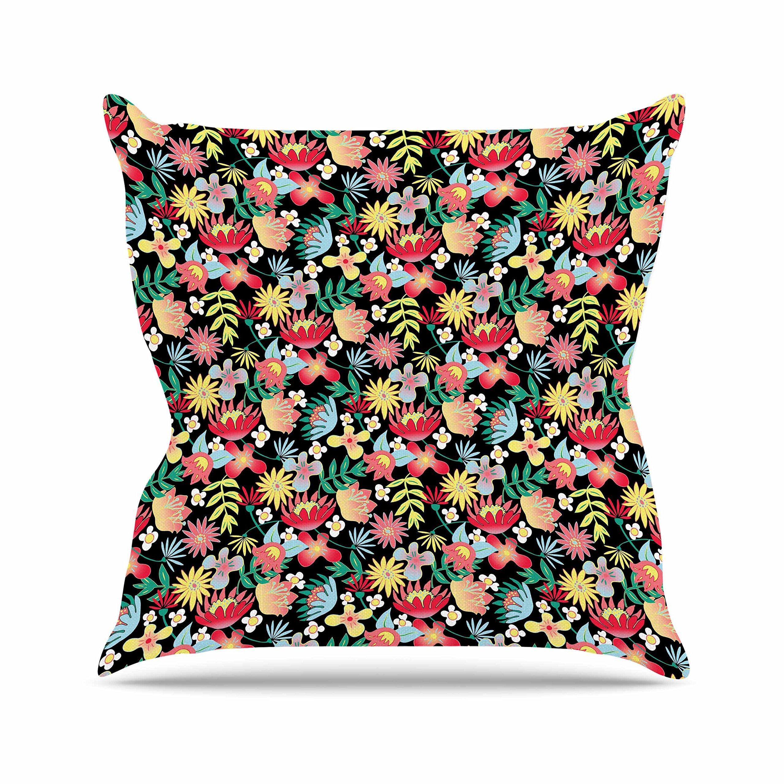Kess InHouse DLKG Design Flower Power Gold Black Outdoor Throw Pillow, 18'' x 18''