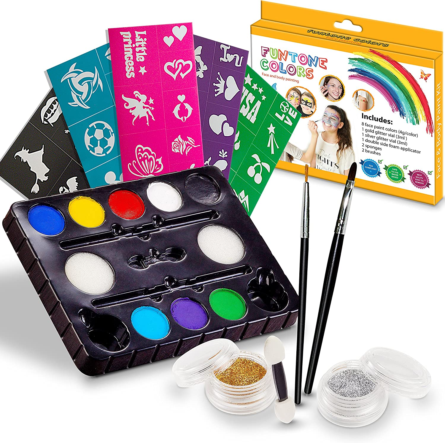 Amazon Com Face Painting Kits Free 40 Stencils Included Use For Body Painting Birthday Halloween Fan Sports Or Kids Makeup Parties Our Face Paint Kit Contain Palette 8 Colors Glitter Brushes Sponges Toys