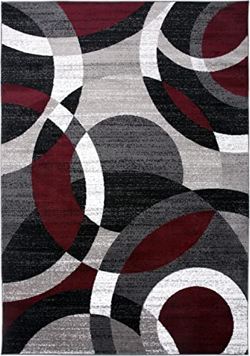 Contemporary Modern Circles Abstract Area Rug 5 3 X 7 3 Red