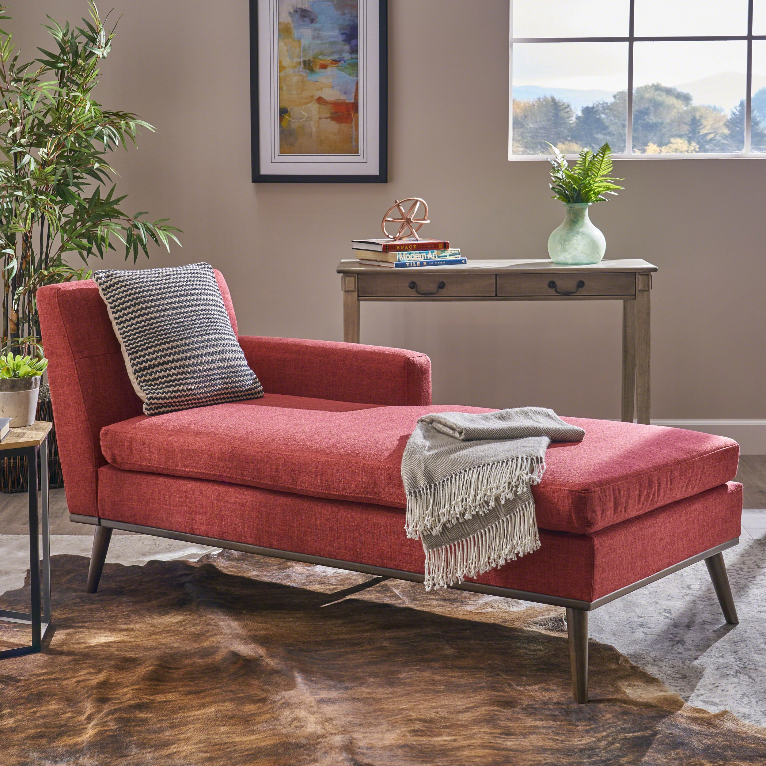 Christopher Knight Home Sophia Mid Century Modern Fabric Chaise Lounge, Red/Walnut by Christopher Knight Home
