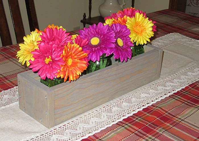 Weathered Oak Planter Box O Mason Jar Centerpiece Long Wood Candle Holder