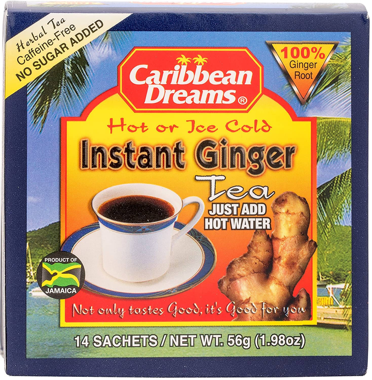 Amazon Com Caribbean Dreams Instant Ginger Tea Un Sweetened 14 Sachets Grocery Tea Sampler Grocery Gourmet Food