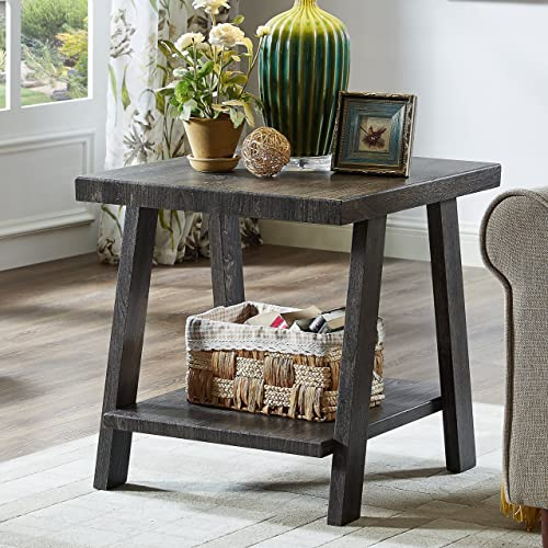 Roundhill Furniture Athens Contemporary Replicated Wood Shelf End Table in Charcoal Finish