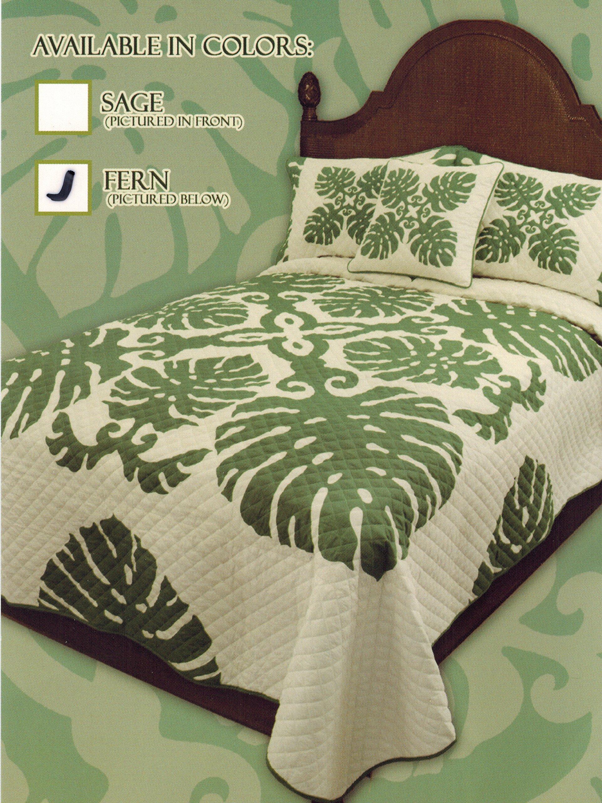 King Hawaiian Quilt bedding Comforter 100% cotton with two pillow shams Fern Green