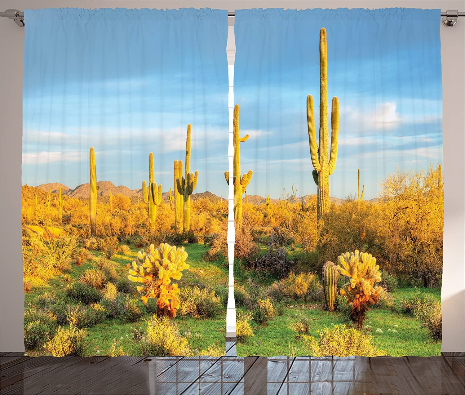 "Ambesonne Saguaro Curtains, Sun Bath in Sonoran Desert Blooming Cactus Spring Time Vegetation Scenery, Living Room Bedroom Window Drapes 2 Panel Set, 108"" X 84"", Marigold Green"