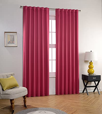 Mysky Home Back Tab And Rod Pocket Thermal Insulated Blackout Curtains Drapes For Office Room