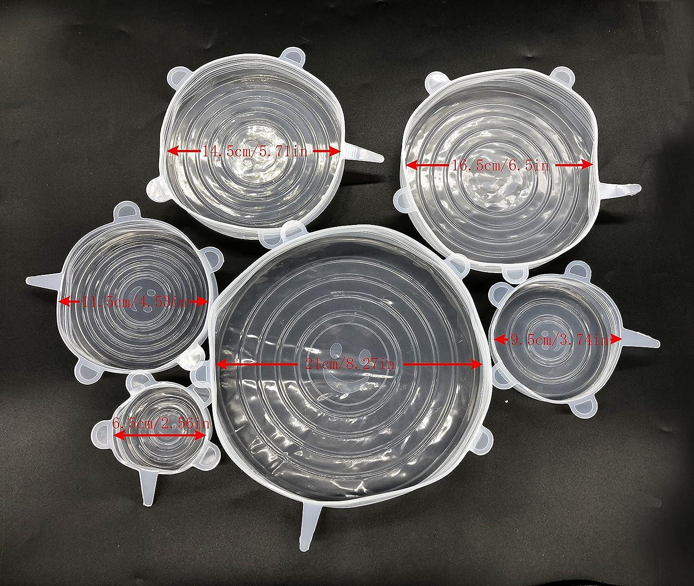Tapas elásticas de silicona (6 unidades, incluye tamaño XL ...
