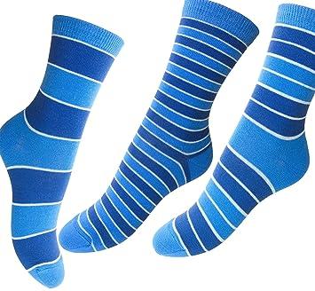 Loonysocks, 3 pares de calcetines de algodón de colores para mujer/ Calcetines combinados en color azul de señora/niña (31-34 EU): Amazon.es: Deportes y aire ...