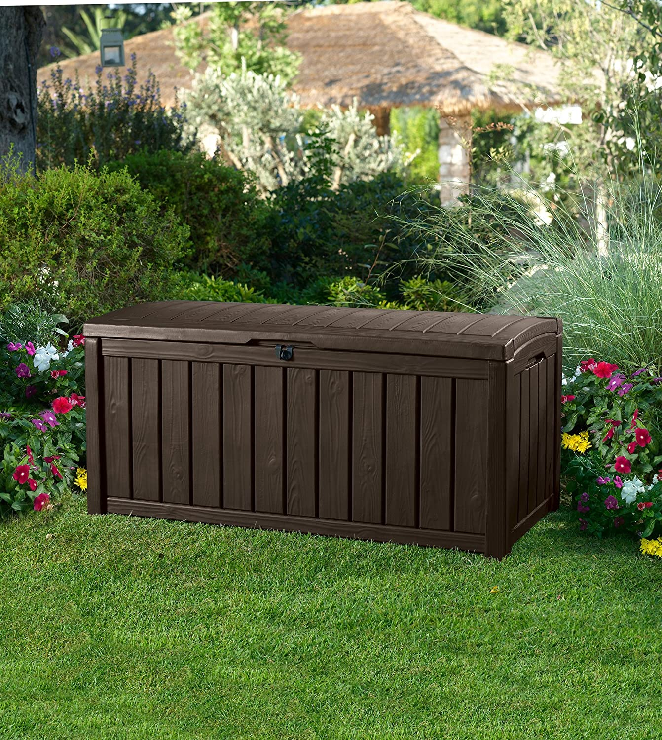 Amazon.com: Keter Glenwood Plastic Deck Storage Container Box Outdoor Patio  Furniture 101 Gal, Brown: Garden U0026 Outdoor
