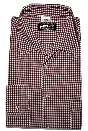 size 40 b010b 0dd7c Herrenhemd in Übergröße Premium Qualität 3XL - 6XL -in Bordeauxrot, blau,  schwarz Bügelleicht 100% Baumwolle Pflegeleicht Kariert Langarm Variokragen  ...