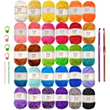Mira Handcrafts 30 Acrylic Yarns – DK Yarn for Crochet and Knitting – 2 Crochet Hooks, 2 Plastic Needles, 4 Stich…