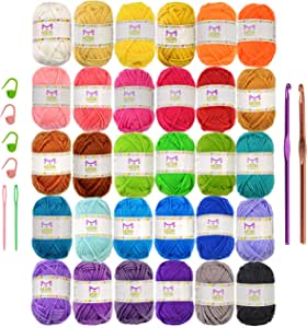 Mira Handcrafts 30 Acrylic Yarns - DK Yarn for Crochet and Knitting - 2 Crochet Hooks, 2 Plastic Needles, 4 Stich Markers, 7 Ebooks with Yarn Patterns Included - Perfect Craft Yarn