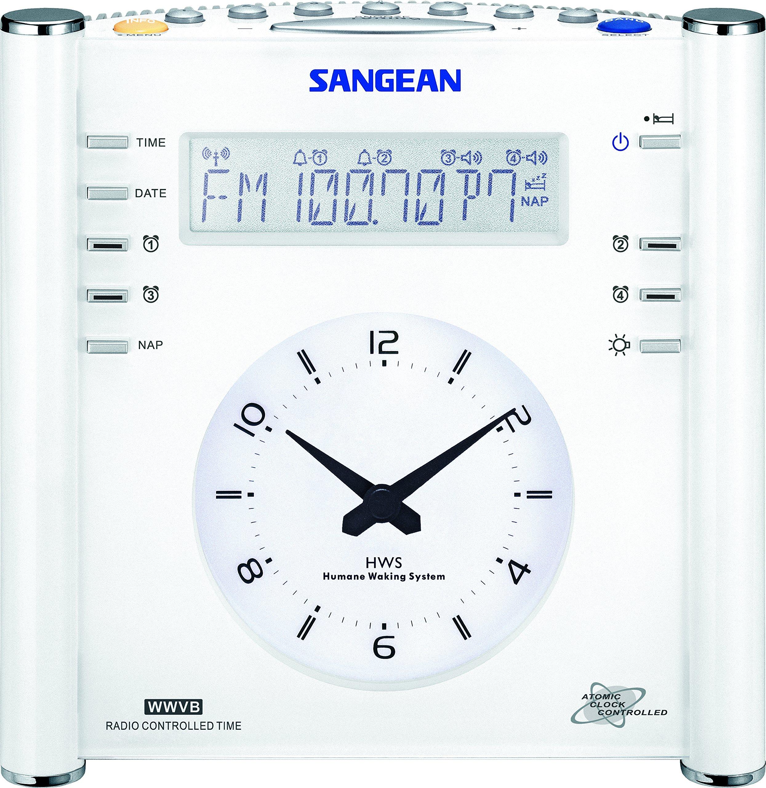 Sangean RCR-3 AM/FM Atomic Digital/Analog Clock Radio (White)