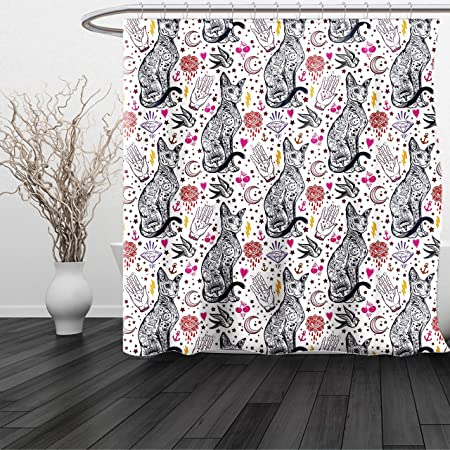 Haixia Shower Curtain Egyptian Traditional Tattoo Pattern Gothic