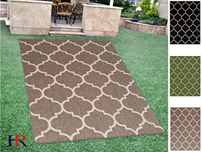Handcraft Rugs Indoor/Outdoor area Rug with Moroccan Trellis Design Mocha and Ivory Color (7 ft. by 10 ft.)
