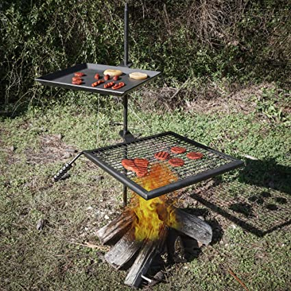 Titan Campfire Adjustable Swivel Grill Fire Pit Cooking Grate Griddle Plate  BBQ - Amazon.com : Titan Campfire Adjustable Swivel Grill Fire Pit Cooking