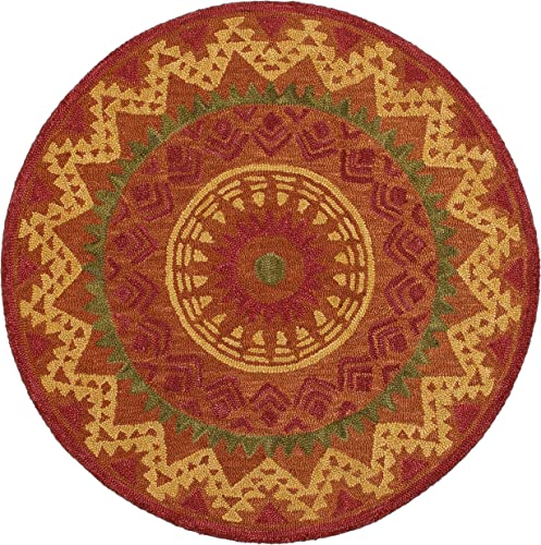 LR Resources Area Dazzle LR54059-RUS60RD Rust 6 ft Plush Indoor Round Rugs, 6