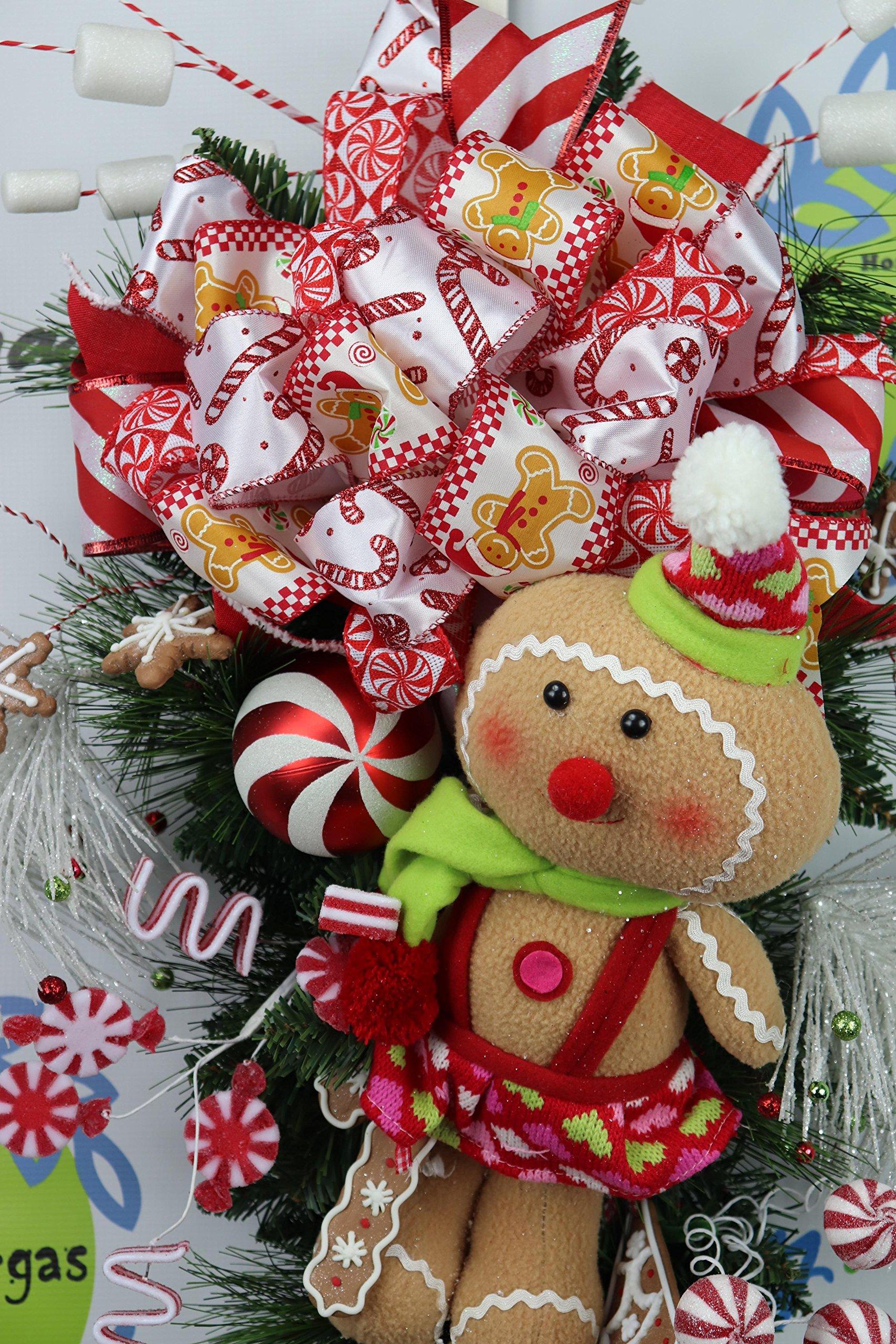 Gingerbread Girl Door Swag, Christmas Wreath, Candy Cane Door Decor, Christmas Door Hanger, Candy Decor