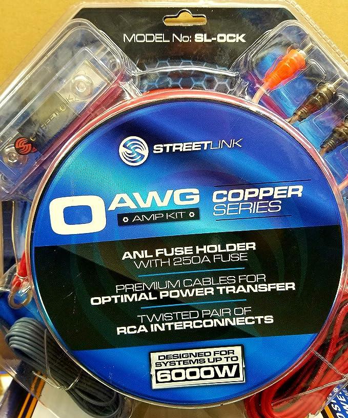 Amazon.com: STREET LINK 0 GAUGE 100% COPPER AMP WIRING KIT: Car ...