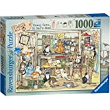 Ravensburger Linda Jane Smith Vintage No.6 - Crazy Cats - Dad's Shed 1000pc Jigsaw Puzzle