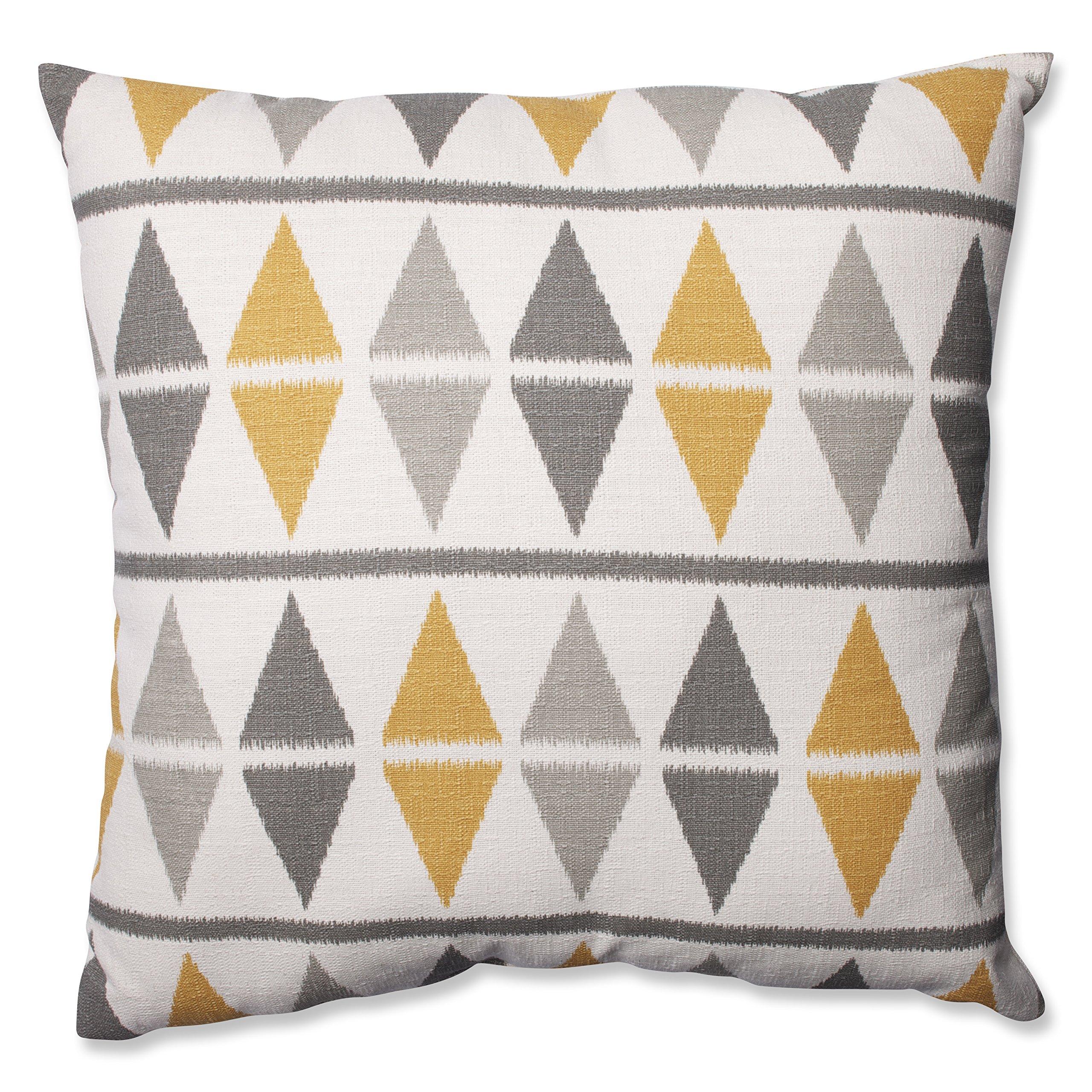 Pillow Perfect Ikat Argyle Floor Pillow, 24.5-Inch, Birch