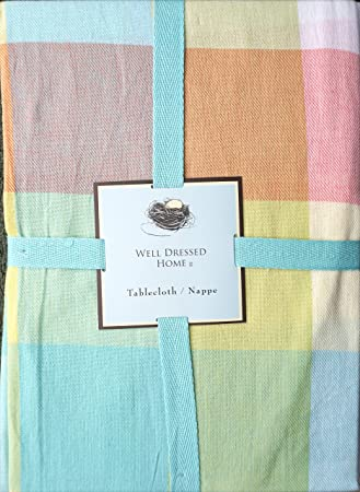 Well Dressed Home Fabric Tablecloth Pastel Spring Easter Tablecloth Pink  Blue Green Yellow Orange Large Squares