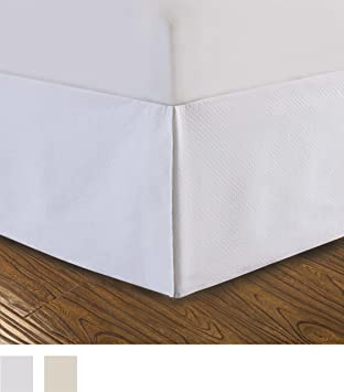 Amazon.com: DreamSpace Quilted Bed Skirt Dust Ruffle Diamond ... : white quilted bed skirt - Adamdwight.com
