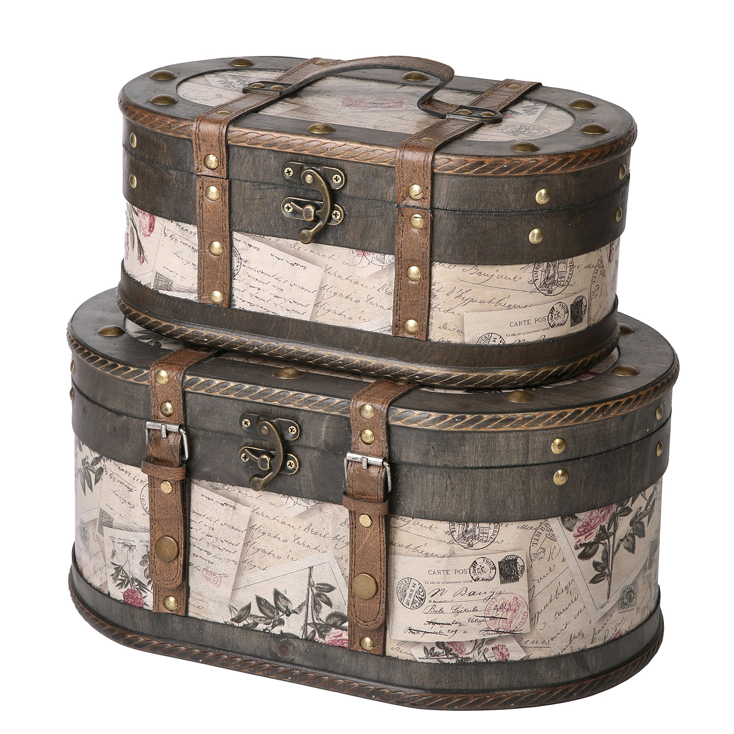 SLPR Alyssa Wooden Train Case (Set of 2, Roses)   Decorative Storage Trunk Vintage Themed Antique Victorian Style Treasure Storage Box