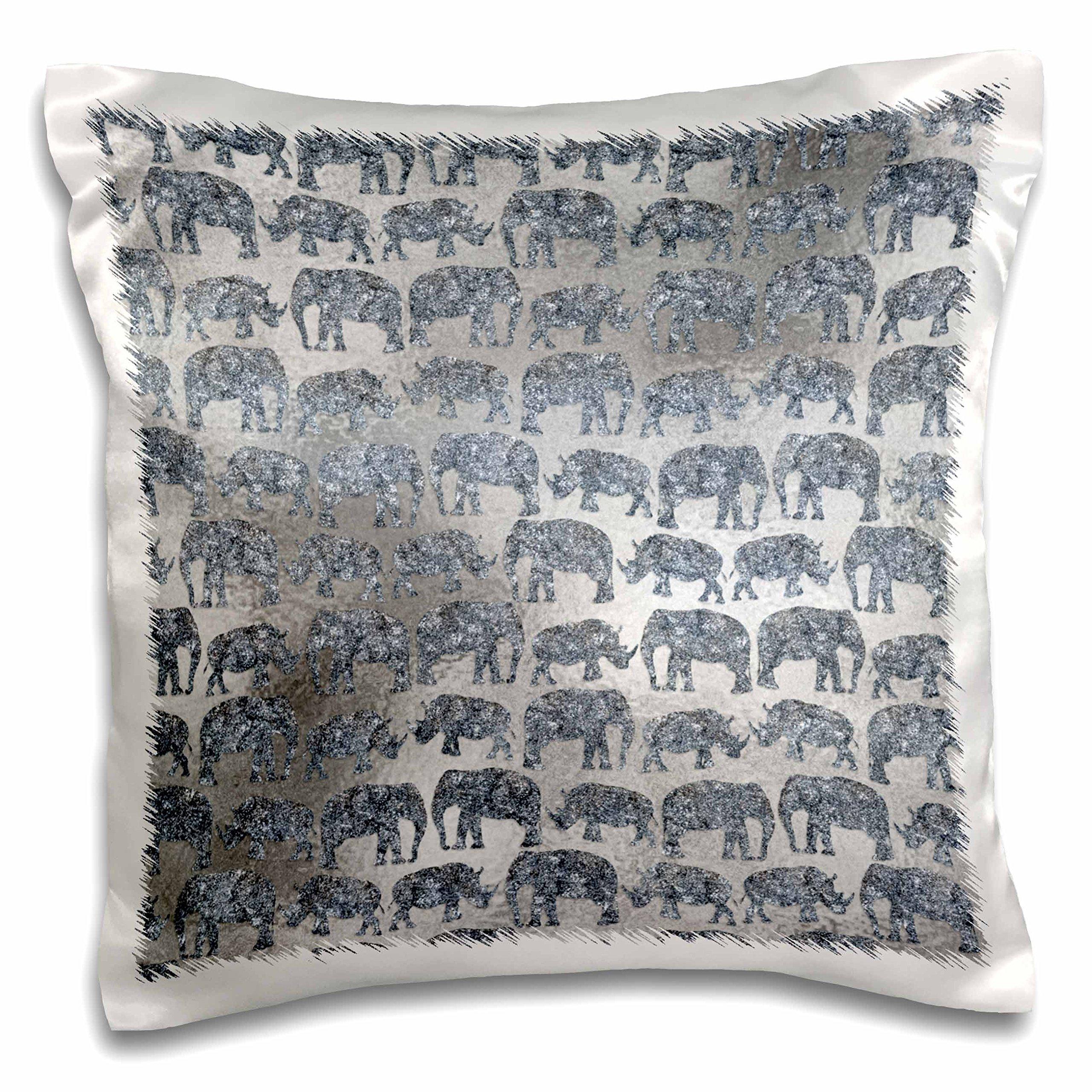 3dRose Luxury Silver Shiny Chic Animal Elephant Africa Safari Pattern Pillow Case, 16 x 16''