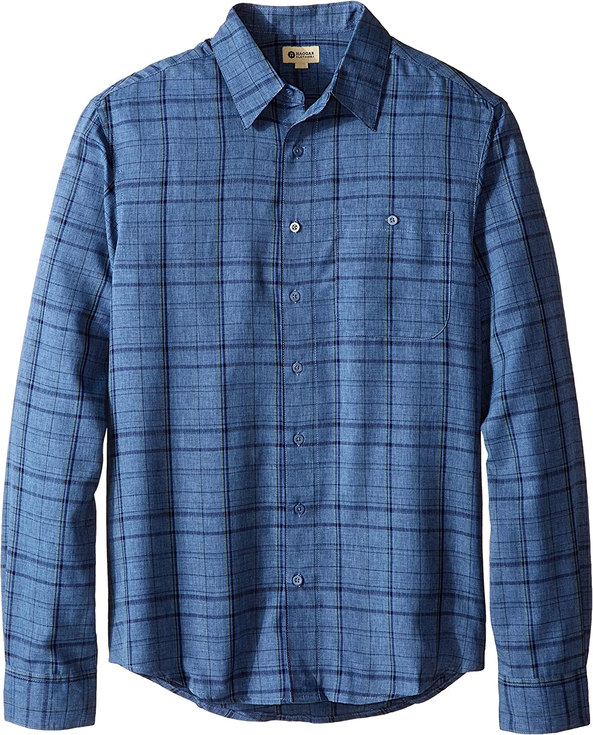 Haggar Mens Long Sleeve Big-Tall Microfiber Woven Shirt