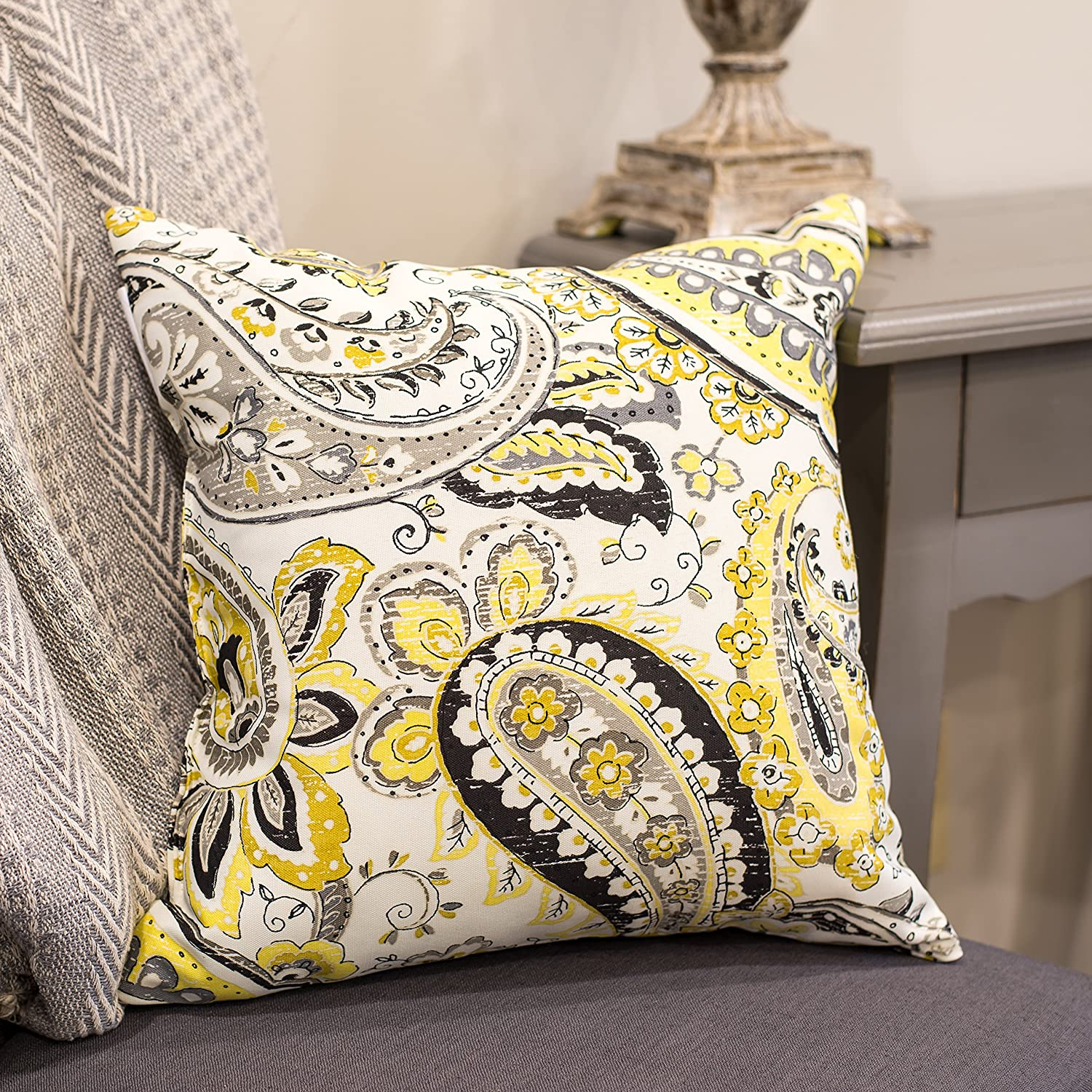 Hadia Goldmine Paisley Grey And Yellow Print 16 X 16 Indoor Outdoor Throw Pillow India House Brass Home Kitchen Decorative Pillows Inserts Covers