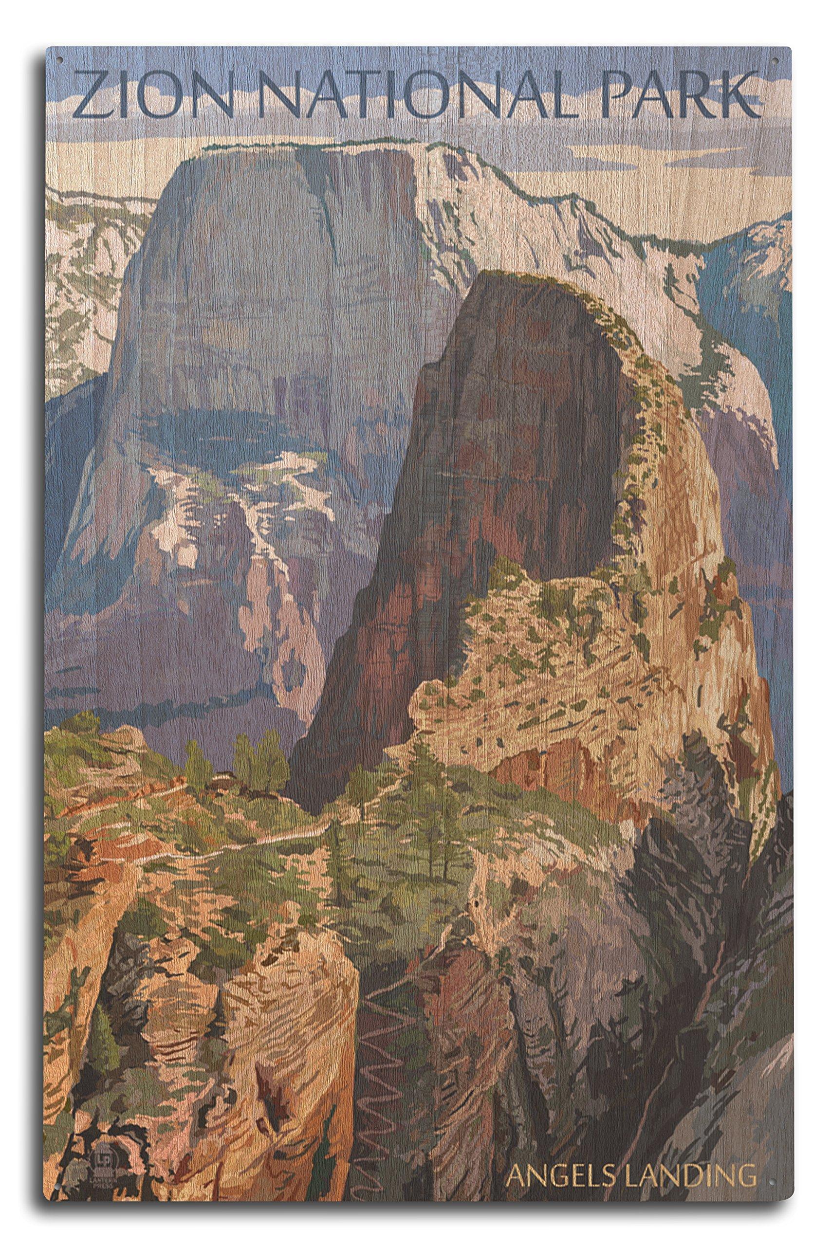 Zion National Park, Utah - Angels Landing (10x15 Wood Wall Sign, Wall Decor Ready to Hang)