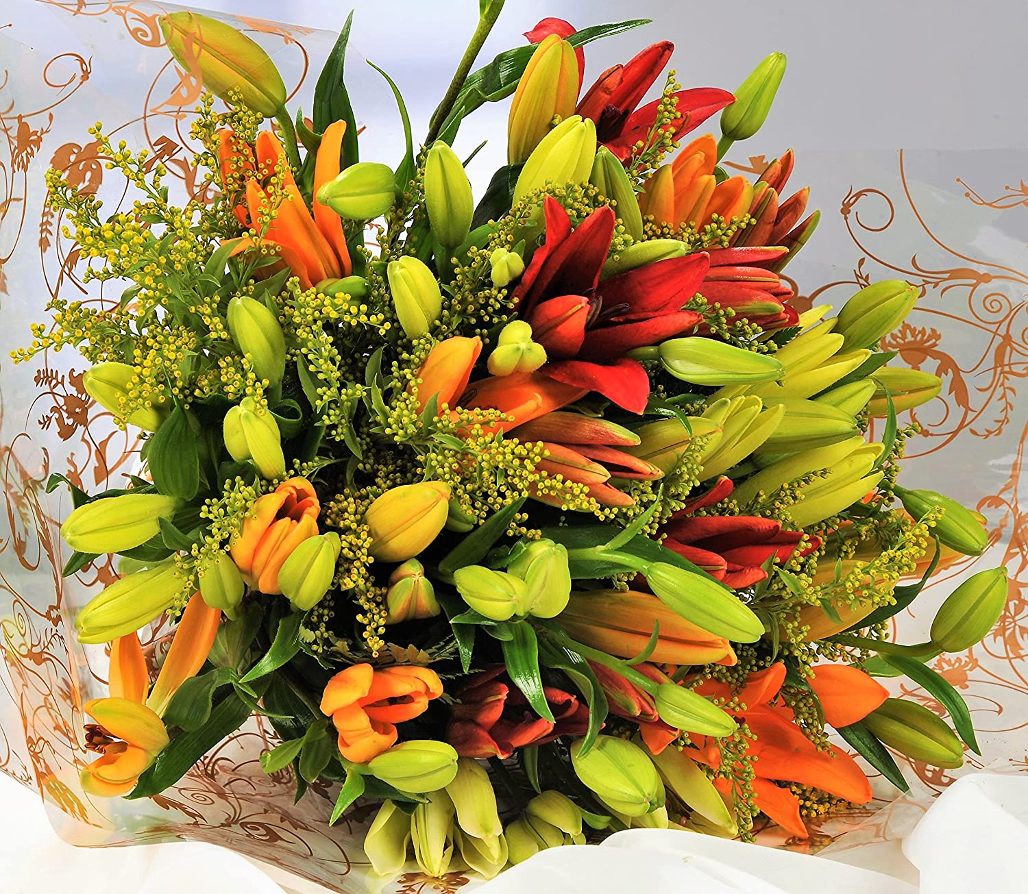 Asiatic Lily Fresh Flower Bouquet - 1hr Delivery TimeSlot - Send Flowers UK with Free Next Day Delivery 7 Days a Week - Luxury Lilies Delivered Gift Wrapped with Your Personal Card Message Homeland Florists