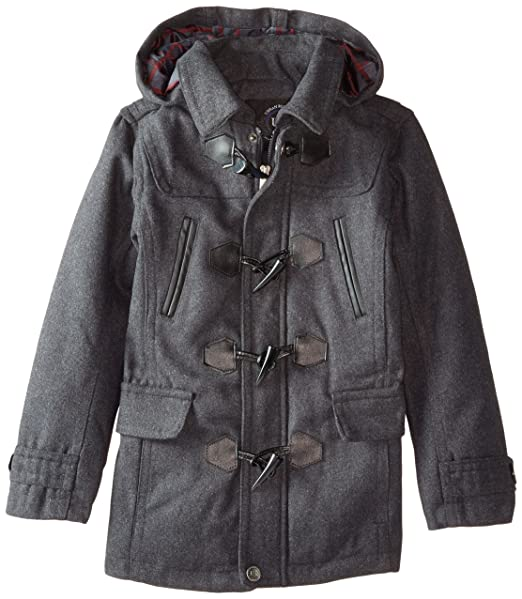 Urban Republic Big Boys' Classic Hooded Toggle Coat, Charcoal, 10/12
