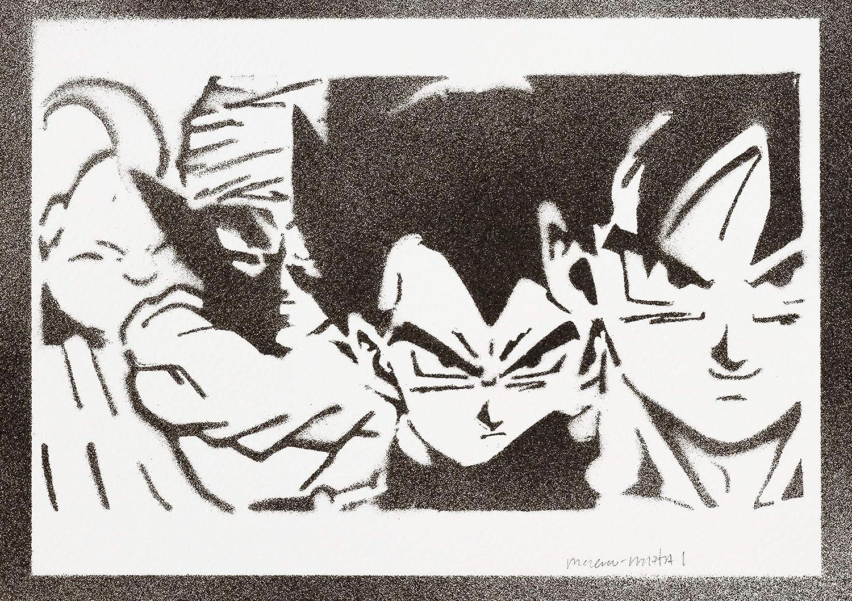 Poster Bola De Dragón Goku Vegeta Piccolo Monstruo Bu Grafiti ...