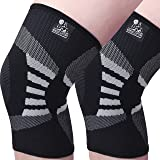 Knee Compression Sleeves (1 Pair) - Support for Arthritis Prevention & Recovery - 1 Year Warranty (Medium, Grey)