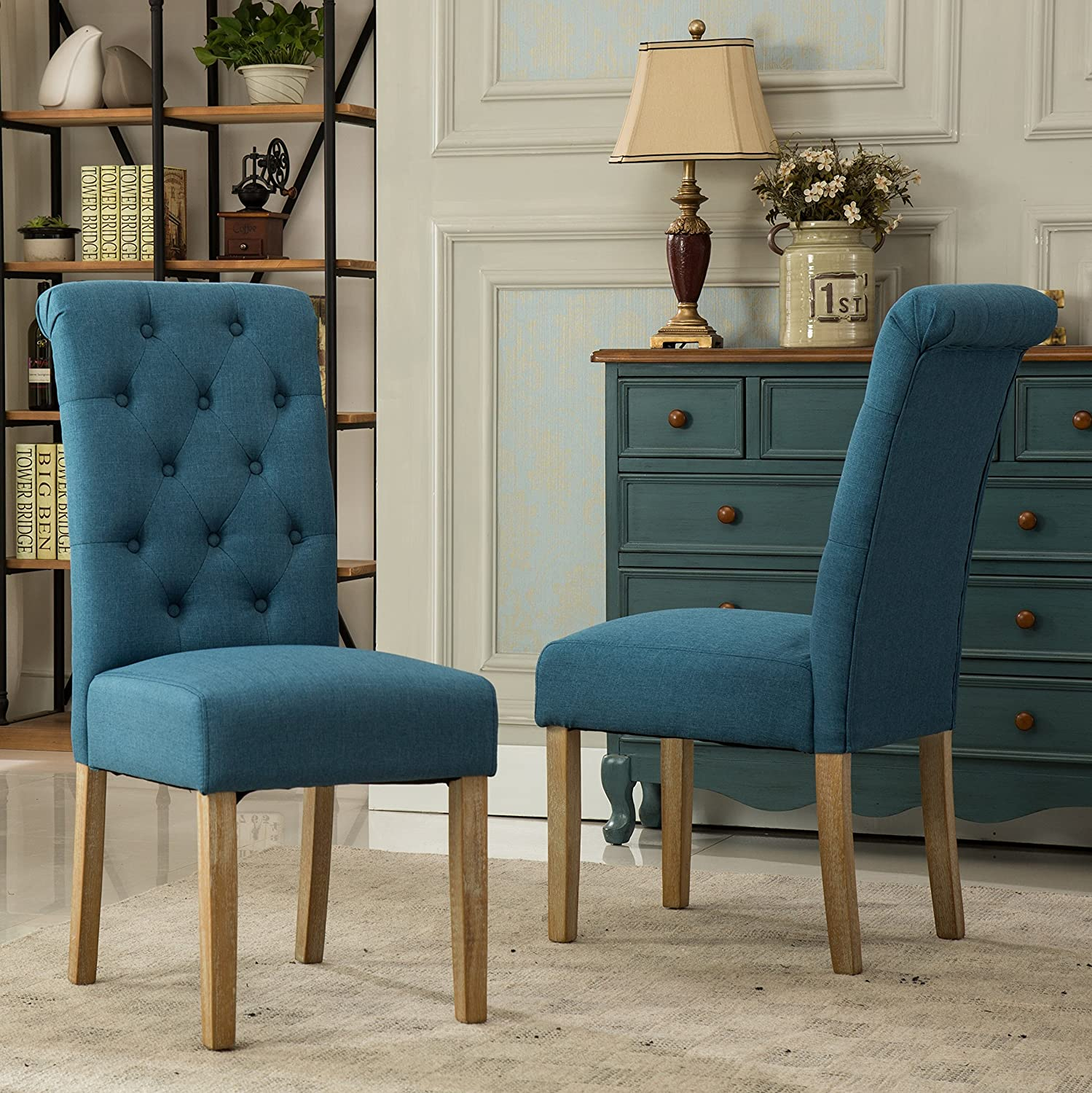 Amazon.com   Roundhill Furniture Habit Solid Wood Tufted Parsons Dining  Chair (Set Of 2), Blue   Chairs