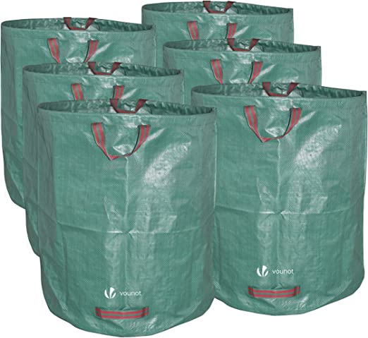 VOUNOT 6 x Sacos de Jardin 272L Bolsas de Basura de jardín, con Asas, Plegables y Reutilizables: Amazon.es: Jardín
