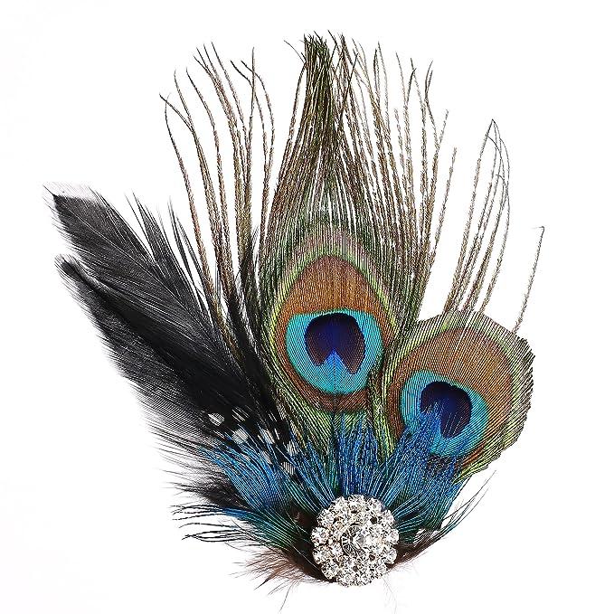 SHAAM white peacock feather flapper vintage Art Deco feather Bridal diamant\u00e9 crystal rhinestones HAIR fascinator barrettes CLIP