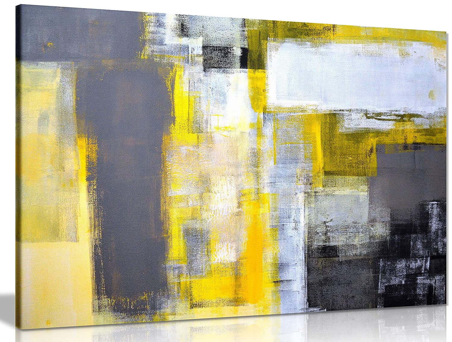 Office art grey and yellow abstract art painting canvas wall art picture print 24x16