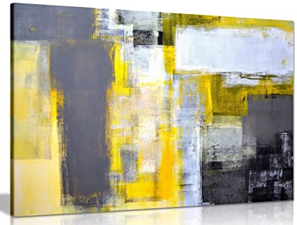 Superbe Office Art Grey And Yellow Abstract Art Painting Canvas Wall Art Picture  Print (30x20in)