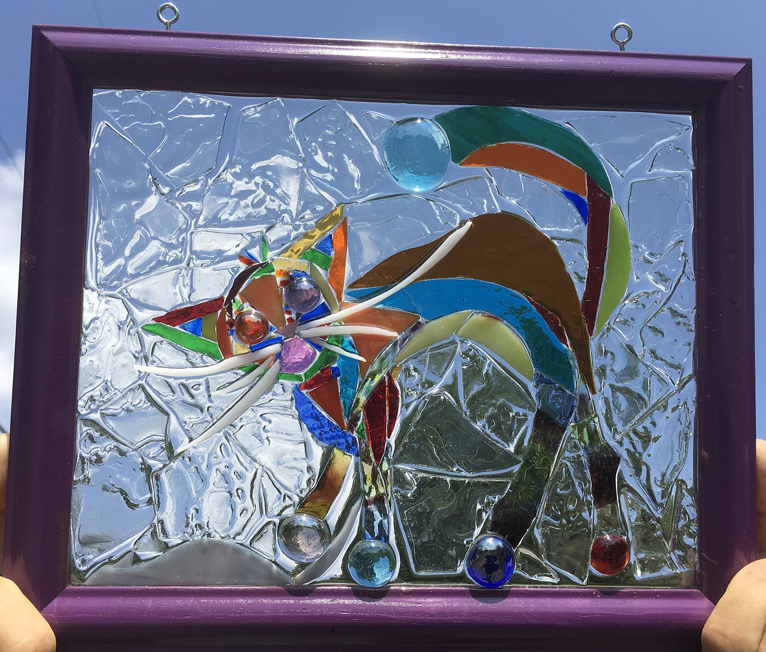 Cat Stained Glass Sun Catcher Window Art