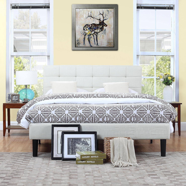 Amazon.com: Divano Roma Furniture Classic Deluxe Ivory Linen Low ...