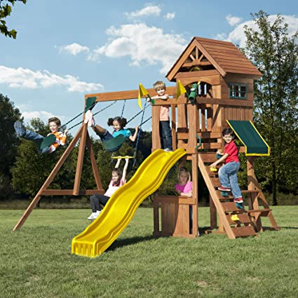 Marvelous Swing N Slide Jamboree Fort Play Set With Two Swings, Slide, Picnic